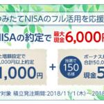 つみたてNISAで現金6000円プレゼントキャンペーン