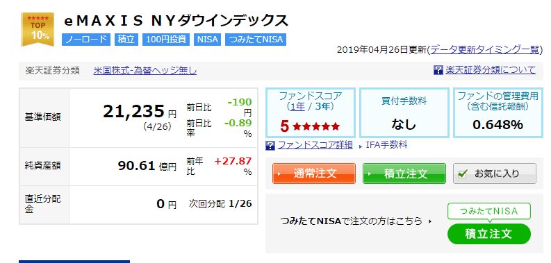 ny ダウ インデックス ファンド