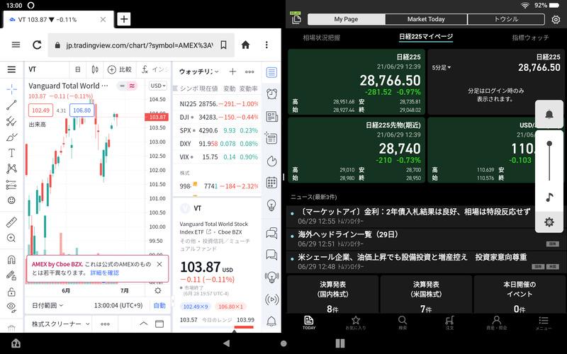 Fire HD10タブレットの2画面分割表示機能(楽天証券とTradingView)